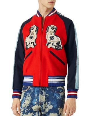 gucci male embroidered felt bomber jacket