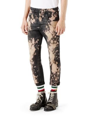 Bleached Denim Tapered Pants