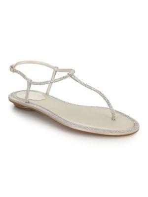 Crystal-Embellished Satin T-Strap Sandals