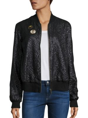 French Cup Sequin Bomber Jacket