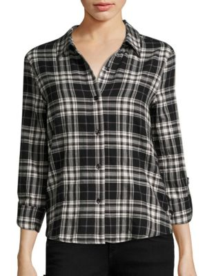 Roberta Lace-Up Plaid Shirt by Generation Love