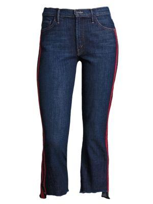 Insider Striped Raw-Edge Step Hem Jeans