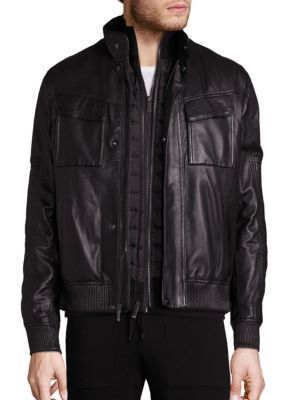 michael kors male racer leather bomber jacket