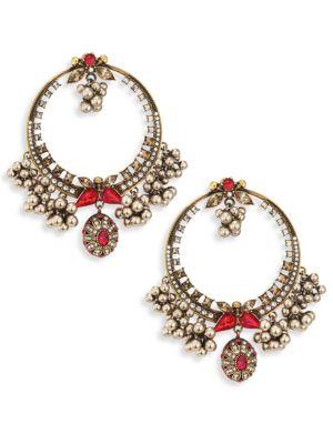 Small Crystal & Faux Pearl Hoop Earrings/1