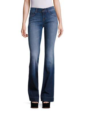 Lovestory Medium Wash Flared Hem Jeans