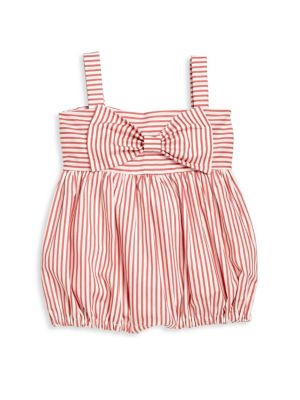 Baby's Big Bow Striped Romper