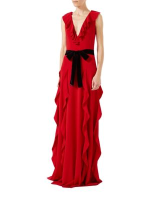 Ruffle Viscose Jersey Gown