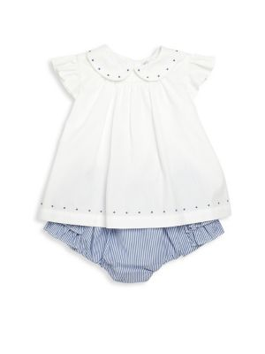 Baby's Two-Piece Embroidered Top & Ruffle Bloomers Set