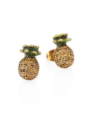 marc jacobs female pineapple crystal stud earrings