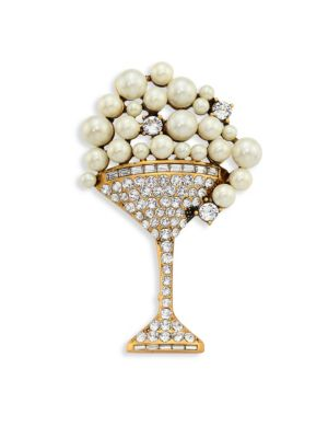 marc jacobs female 218263 crystal fauxpearl martini brooch