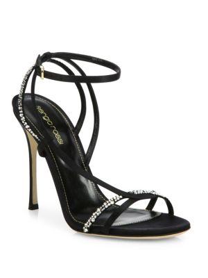 sergio rossi female lexington swarovski crystal strappy sandals