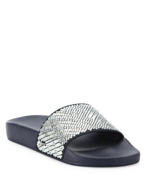 Groove Crystal-Embellished Rubber Slides
