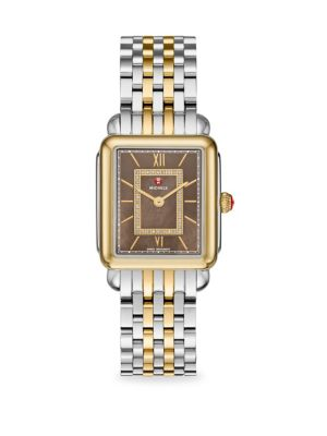 MICHELE WATCHES Deco Ii Mid 40 Diamond, Mother-Of-Pearl & Two-Tone Stainless Steel Bracelet Watch in Gold