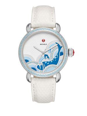 Seaside Diamond, Topaz & & Lizard-Embossed Leather Strap Watch