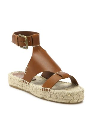Banded Shield Leather Espadrille Sandals