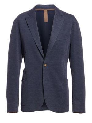 Regular-Fit Cotton Pique Laser-Cut Jersey Jacket