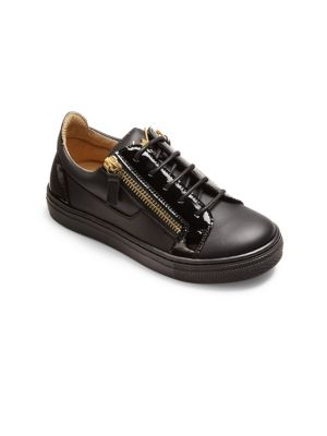 Kid's Double-Zip Leather Sneakers