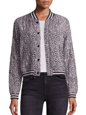 Silk Leopard-Print Bomber Jacket by R13