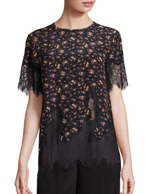 Scalloped Eyelash Lace Silk Floral Top