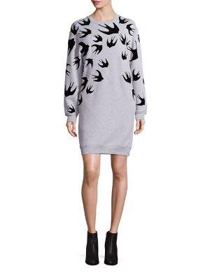 Cotton Swallow-Print Sweatshirt Dress