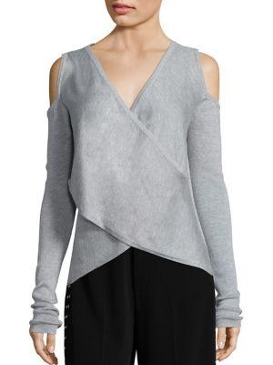 Cross Front Silk & Cashmere Blend Sweater