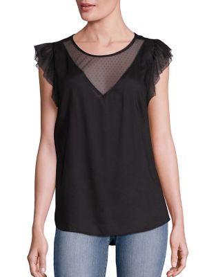 Payton Sheer Flutter Sleeve Top