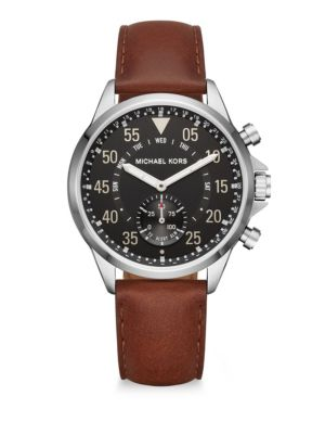 michael kors female michael kors access gage stainless steel leather strap hybrid smartwatch