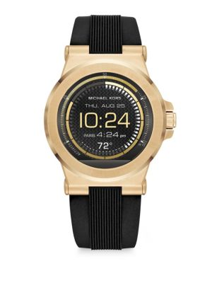 michael kors female michael kors access dylan goldtone stainless steel silicone strap smartwatch