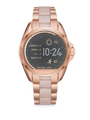 michael kors female michael kors access bradshaw rose goldtone stainless steel touchscreen smartwatch