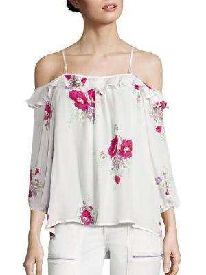 Birtha Floral-Print Cold-Shoulder Silk Top