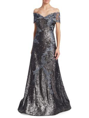 Off-Shoulder Sequin Lace Applique Gown