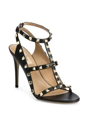 Rockstud Leather Cage Sandals