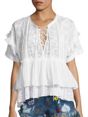 Short Sleeve Lace-Up Top