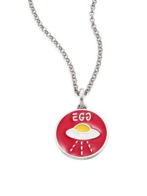 gucci female guccighost sterling silver egg pendant necklace