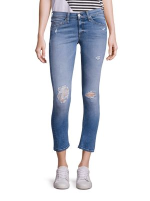 Distressed Cropped Capri Jeans