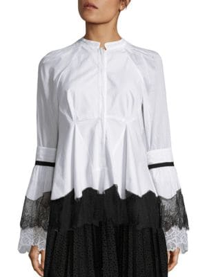 Lace Cotton Bell Sleeves Blouse