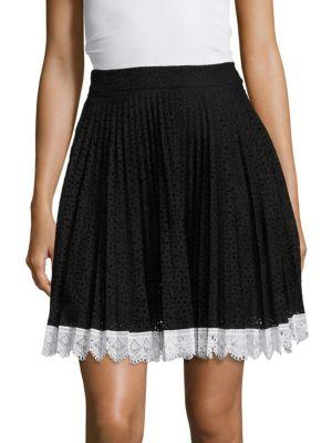 Eyelet Pleated Skirt