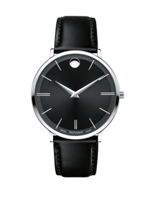 Ultra Slim Stainless Steel Leather Strap Watch