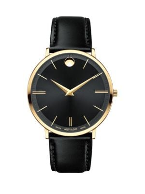 Ultra Slim Goldtone Stainless Steel & Leather Strap Watch