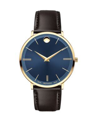 Yellow Gold PVD Finished Stainless Steel & Leather Strap Watch, 0607088