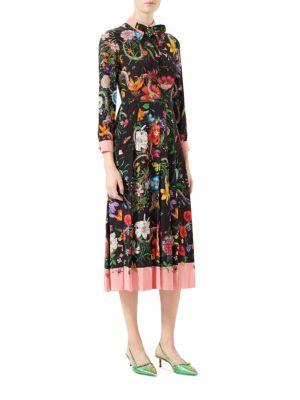 Flora Snake Print Silk Dress