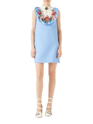 Embroidered Silk Wool Dress