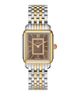 MICHELE WATCHES Deco II Diamond, Mother-Of-Pearl & Two-Tone Stainless Steel Watch Case