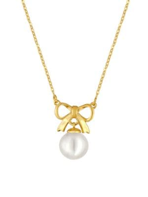 10MM Organic Pearl Bow Pendant Necklace