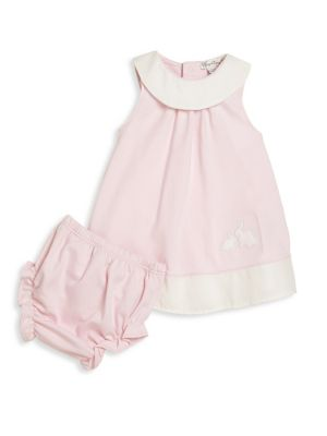 Baby's Rabbit Colorblock Dress and Bloomers Set