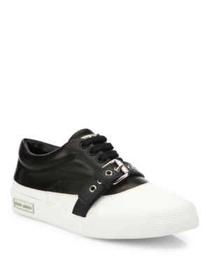 Leather Buckle Strap Sneakers
