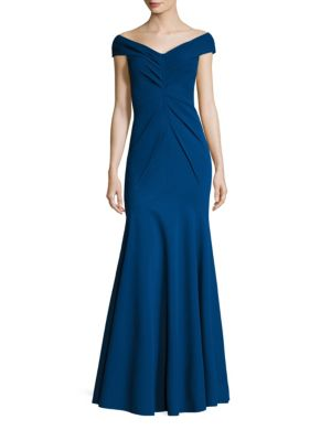 Off-The-Shoulder Pleated Gown