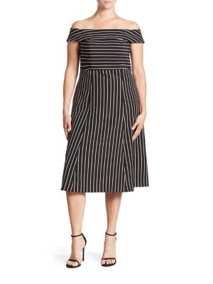 Pinstripe Off-The-Shoulder Dress