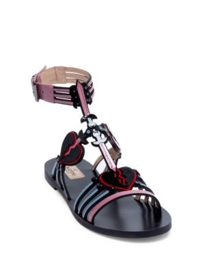 Loveblade Flat Patent Leather Ankle-Strap Sandals