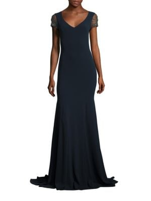 Jeweled Crystal Embroidered Tulle Gown